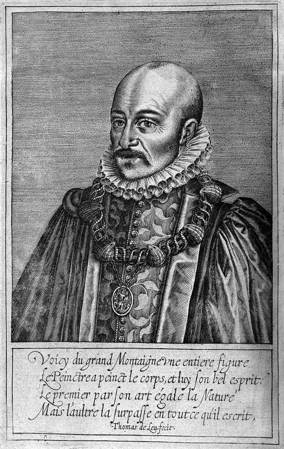 Estampe de Montaigne, Thomas Le Leu, 1608. Photo : wikipédia