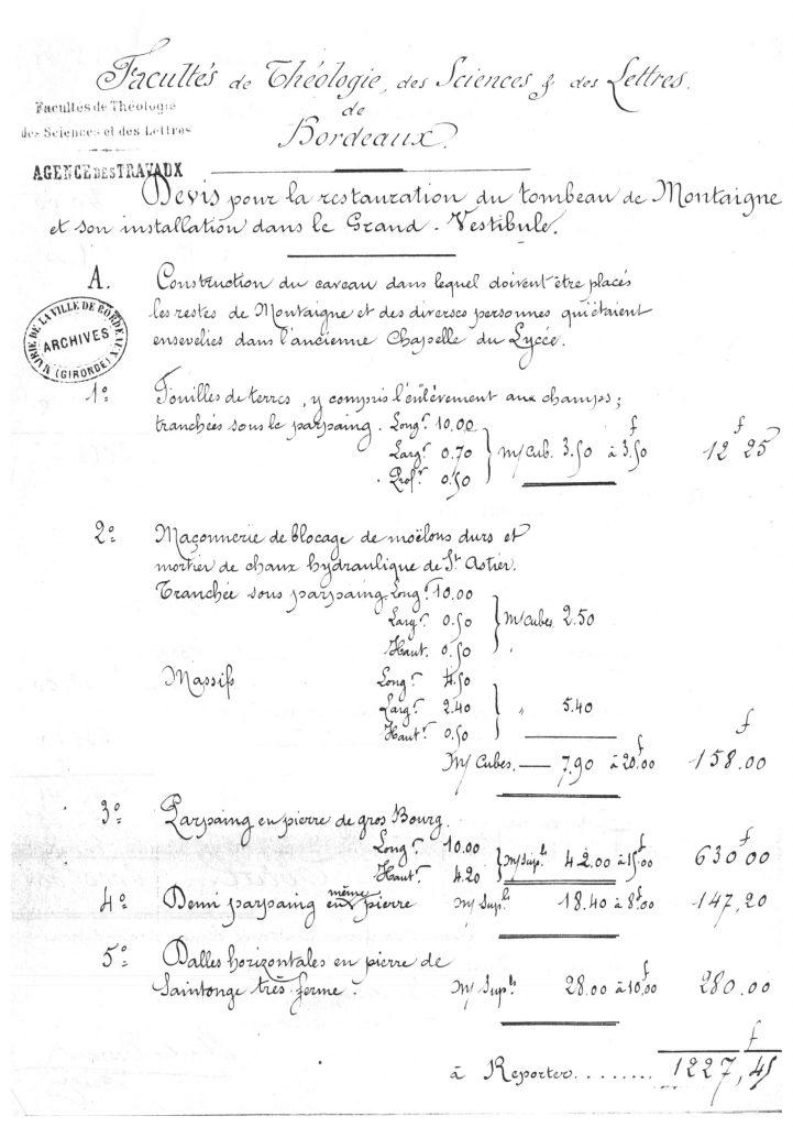 archive-devis-pour-la-restauration-du-tombeau-de-montaigne-et-son-installation-dans-le-grand-vestibule-9-juin-1885