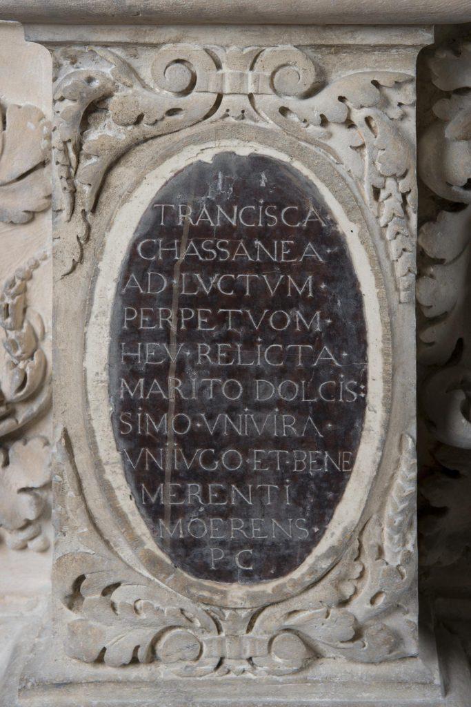 Cénotaphe de Montaigne, détail, médaillon, photo : Léo Fievet, mairie de Bordeaux