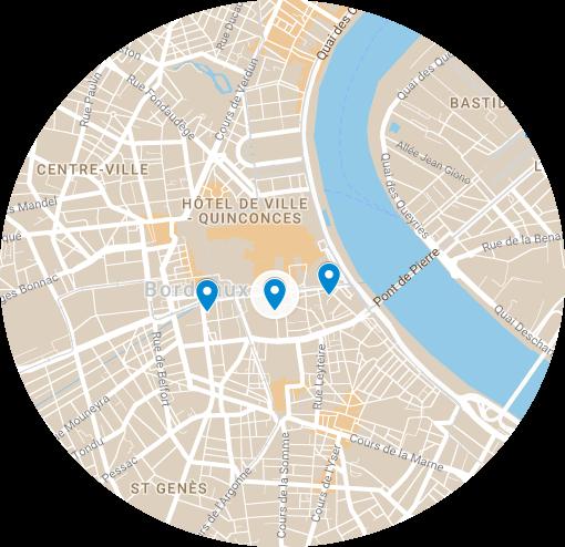Carte des lieux où Montaigne a vécu à Bordeaux