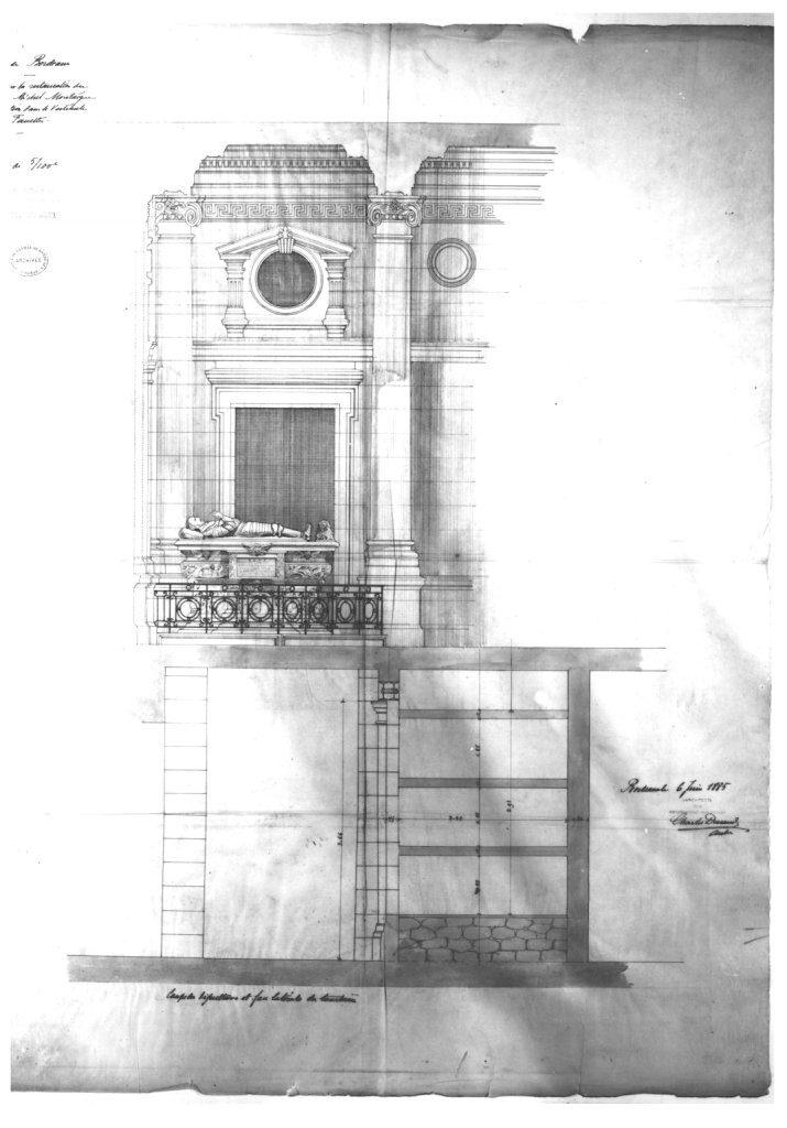 Projet d'installation du monument de Montaigne au-dessus d'un nouveau caveau pour la Faculté des Sciences et Lettres de Bordeaux